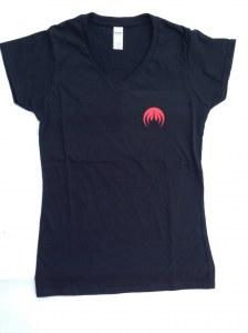 T-Shirt Femme, Col V, Sigle MAGMA rouge