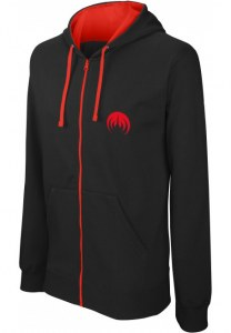 Sweat à zip avec capuche doublée et contrastée logo MAGMA broderie rouge